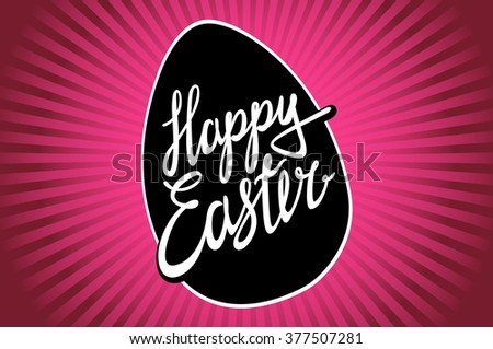 Happy Easter, trendy hipster hand-written line lettering. Easter greeting card with hand-drawn lettering. Pink Easter celebration background with happy Easter wishes text. Easter wishes of happiness.  - stock vector