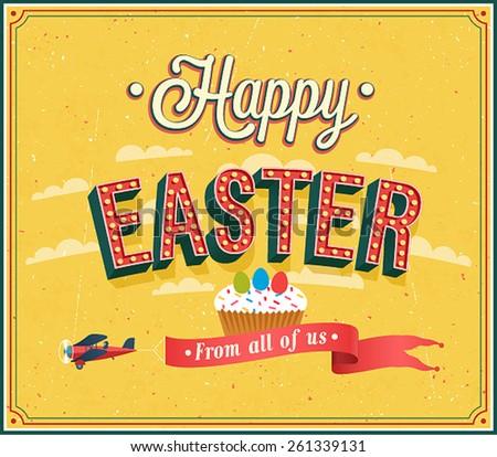 Happy Easter typographic design. Vector illustration. - stock vector