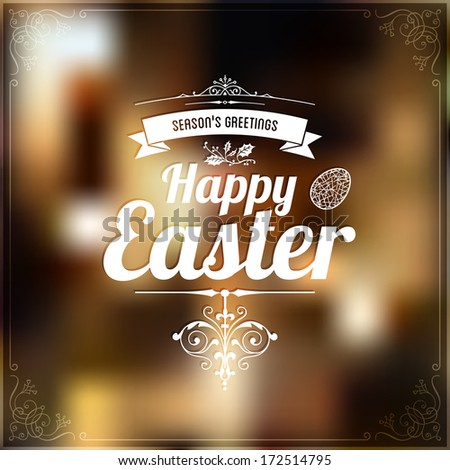 Happy Easter Typographic label, abstract background, vector  - stock vector