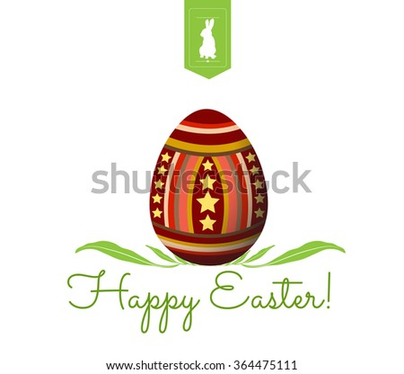 happy easter typographical and eggs background - stock vector