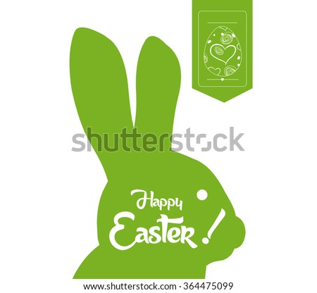 happy easter typographical and eggs label background - stock vector
