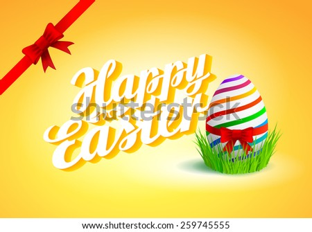 Happy Easter Typographical Background with egg in grass  - stock vector