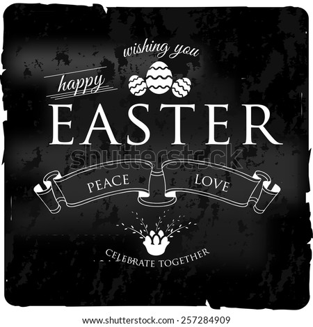Happy Easter Typographical cacharol black vintage retro  Background - stock vector