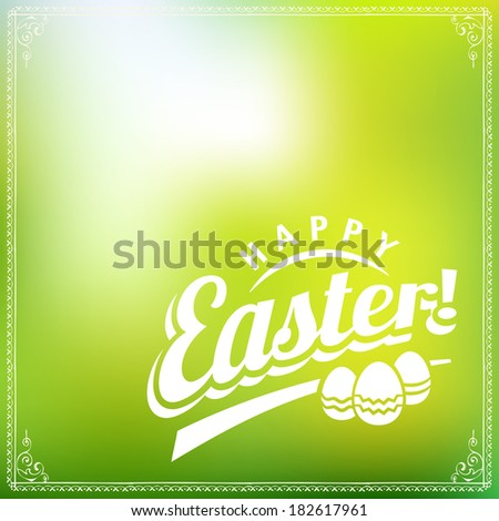 Happy Easter Typographical Green Vector Background - stock vector