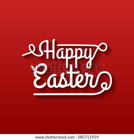 Happy Easter Typographical poster on red background - stock vector