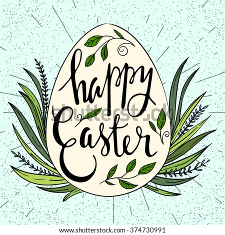 Happy Easter Typographical poster. Vector easter card. - stock vector
