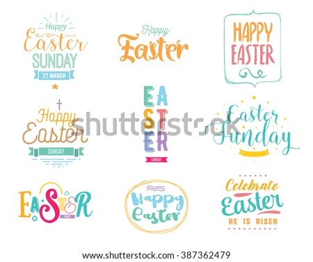 Happy Easter typography design set. Isolated compositions on transparent background. Calligraphy, lettering and hand drawn elements. Usable for posters, cards any print. Easter sunday. Easter holiday. - stock vector