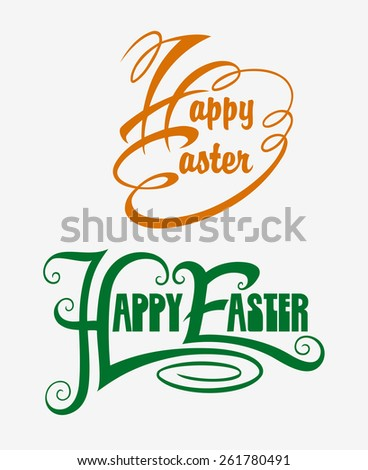 Happy Easter typography swirl label vector 4. Good use for sticker design, invitation element, title label card design, or any design you want. Easy to use, edit, or change color. - stock vector