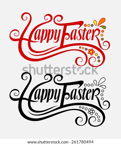 Happy easter typography swirl label vector 3 good use for sticker design invitation element