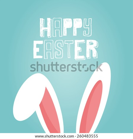 happy easter vector card with bunny ears - stock vector