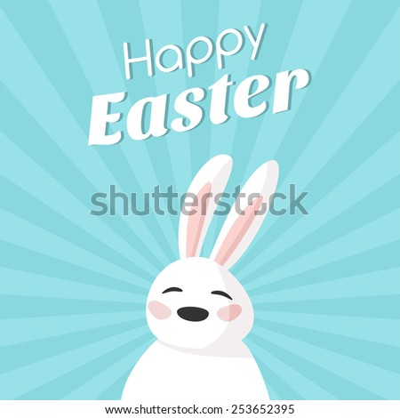 Happy Easter vector greeting card design. Vector illustration with easter bunny - stock vector