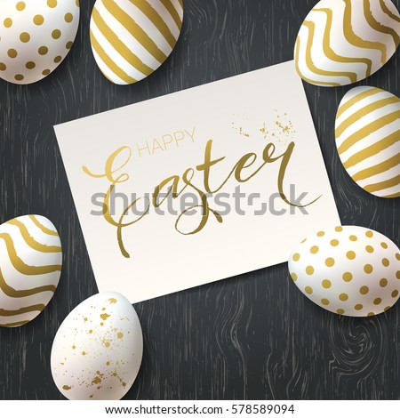 Happy Easter Vector Greetings Card Trendy Template With Golden Eggs On A Wooden Rustic Table