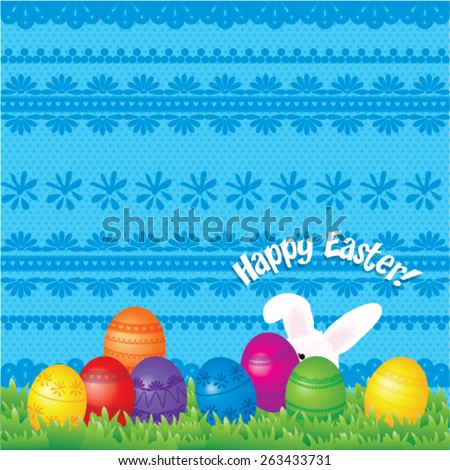 Happy Easter Vector Illustration. with easter eggs, easter bunny, easter rabbit and font. - stock vector