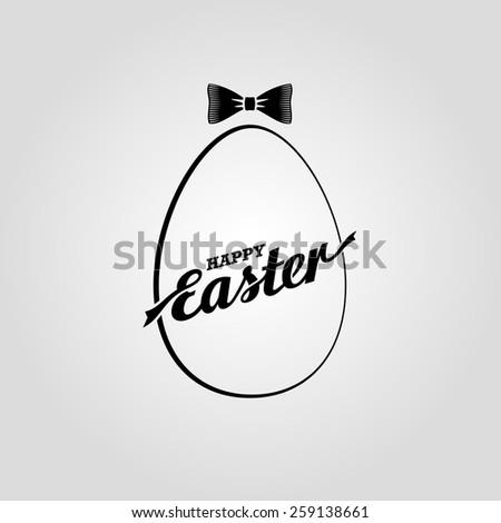 Happy Easter. Vector lettering. Egg  - stock vector