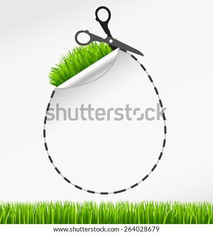 Happy Easter. Vector scissors cut egg. eps 10 - stock vector