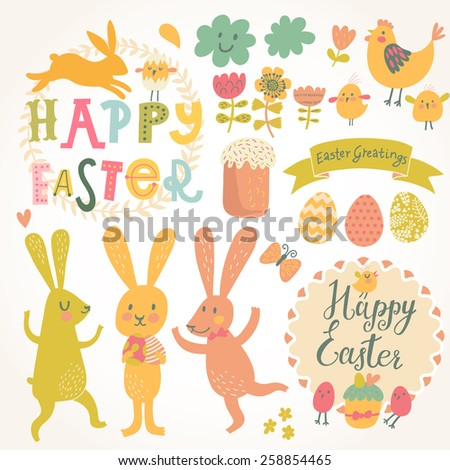 Happy easter vector set in vector. Sweet rabbits, eggs, chicken, text, tasty cake in stylish colors. Concept holiday spring cartoon collection - stock vector