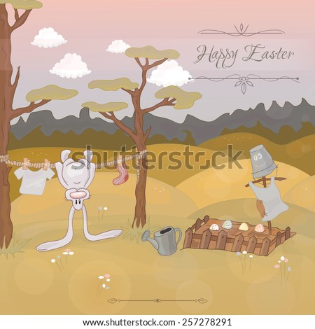 Happy Easter vintage greeting card with a cute rabbit, eggs and flowers on green meadow. Use as Easter greeting card or website decoration. Children's illustration EPS 10 - stock vector