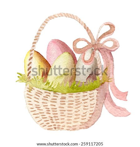 Happy Easter watercolor basket with multicolored eggs. Hand drawn vectorized, eps10 - stock vector