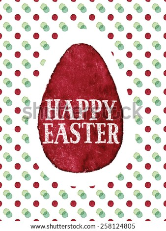 Happy Easter watercolor painted greeting card. Hand-drawn words and dark red Easter egg on colorful dots background. Vectorized watercolor painting - stock vector