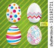 Happy easter white eggs with colorful patterns (collection). Vector set of textured eggs (decoration). Gradient on eggs (icons). - stock vector