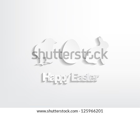 Happy Easter with a bunny, egg and a chicken sticker on a white background. - stock vector