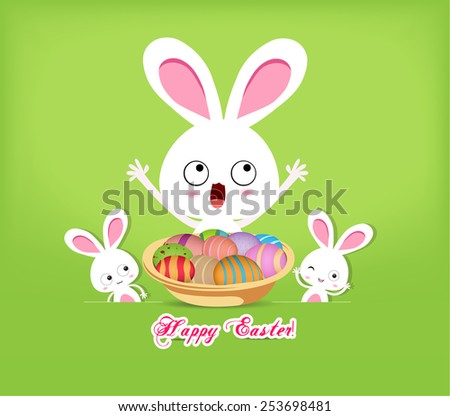 happy easter with basket of eggs and bunny - stock vector