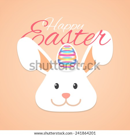 Happy Easter with Easter Rabbit and Easter Ribbon Egg - stock vector