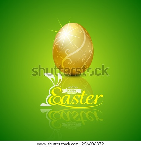 Happy easter with golden egg.Hand lettering.vector illustration Background - stock vector