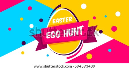 Happy Easter yellow,blue background with colorful egg, confetti and ribbon. Egg hunt for children template layout. Vector illustration. Easter. Sale tempalte.