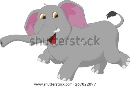 happy elephant cartoon - stock vector