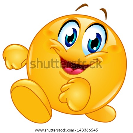 Happy emoticon walking - stock vector