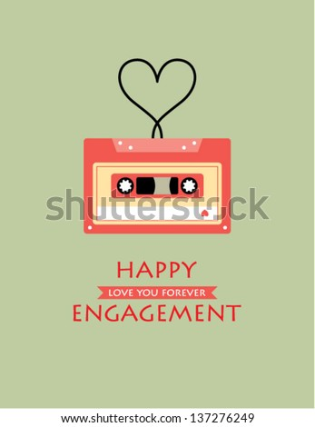 happy engagement cassette card - stock vector