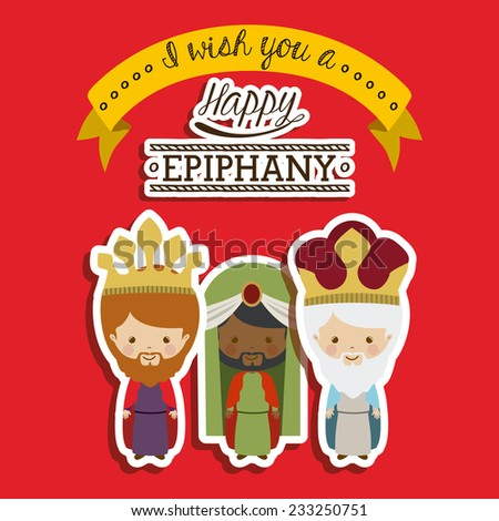 Happy epiphany design over red background, vector illustration. - stock vector