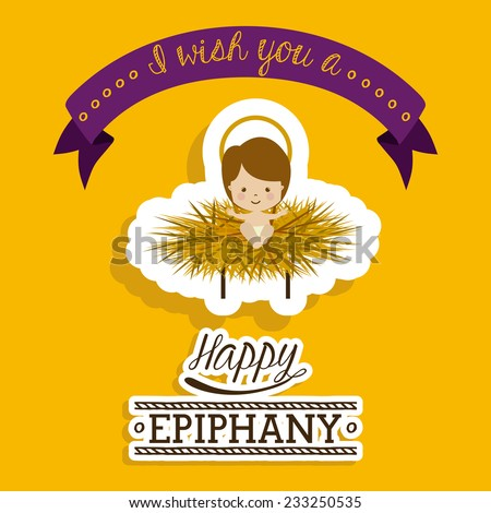 Happy epiphany design over yellow background, vector illustration. - stock vector