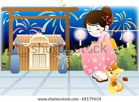 Happy Event with Attractive People - enjoying oriental big party with an asian lovely young female and cute cat on a background of beautiful night blue sky and traditional temple : vector illustration - stock vector