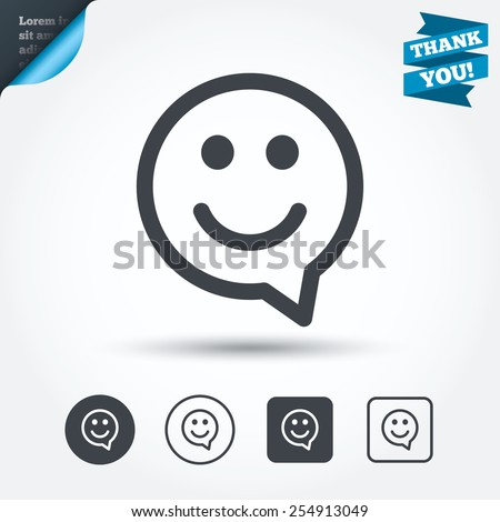 Happy face chat speech bubble symbol. Smile icon. Circle and square buttons. Flat design set. Thank you ribbon. Vector - stock vector