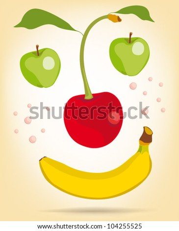 happy face from fruit - stock vector