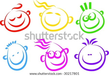 happy face icons - stock vector