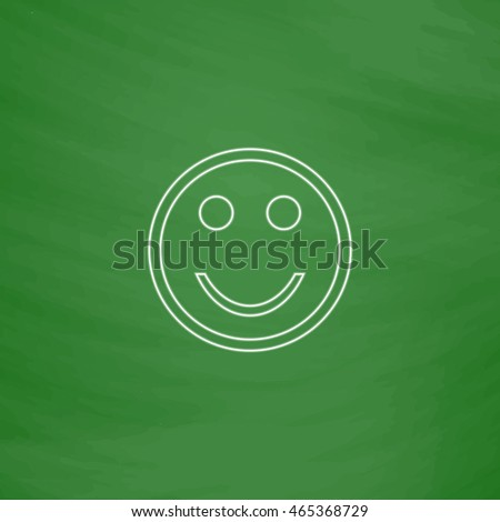 Happy face Outline vector icon. Imitation draw with white chalk on green chalkboard. Flat Pictogram and School board background. Illustration symbol