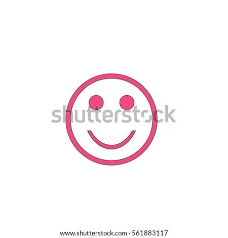 Happy Face Pink Vector Icon Black Stock Vector 2018 561883117