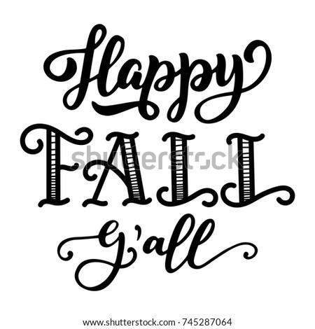 Happy Fall Yall Hand Lettering Custom Stock Vector ...