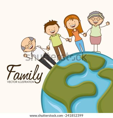 happy family - stock vector