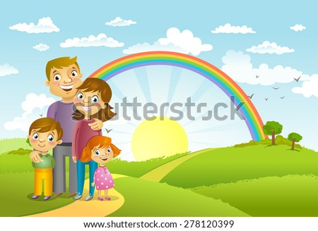 Happy family against a beautiful landscape, vector illustration. - stock vector