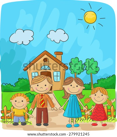 Happy Family On Threshold Their House Stock Vector ...