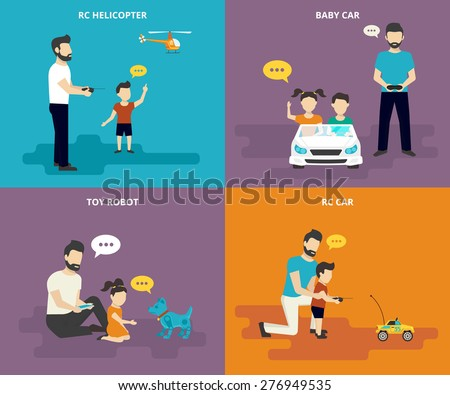 Happy family and parent playing with child. Family flat icons set of father with his son playing in radio controlled helicopter, childs driving kids car, father and daughter playing with robotic toy - stock vector