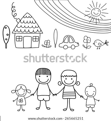 happy family and rainbow, black and white child like drawing - stock vector
