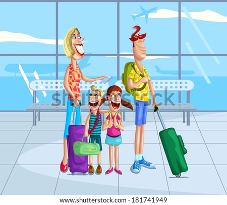 Happy family at airport lounge with luggage - stock vector