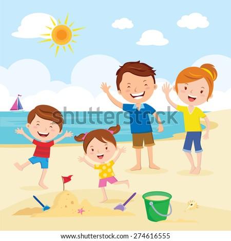 Happy family at the beach. Family having fun at the beach. - stock vector