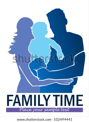Happy family banner - stock vector