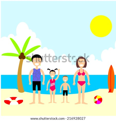 Happy Family Beach Vacation